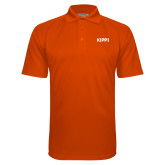 Orange Textured Saddle Shoulder Polo-Primary Logo