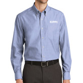 Mens Light Blue Crosshatch Poplin Long Sleeve Shirt-Primary Logo