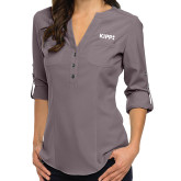 Ladies Glam Pewter 3/4 Sleeve Blouse-Primary Logo