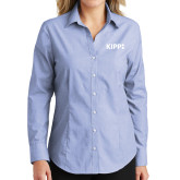 Ladies Light Blue Crosshatch Poplin Long Sleeve Shirt-Primary Logo