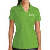 Ladies Nike Golf Dri Fit Vibrant Green Micro Pique Polo-Primary Logo