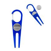 Blue Aluminum Divot Tool/Ball Marker-Primary Logo Engraved