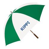 64 Inch Kelly Green/White Umbrella-Primary Logo