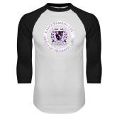 White/Black Raglan Baseball T Shirt-Crest Design