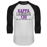 White/Black Raglan Baseball T Shirt-Stacked Kappa Lambda Chi