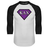 White/Black Raglan Baseball T Shirt-Greek Diamond