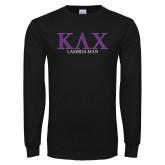 Black Long Sleeve T Shirt-Greek Lambda Man