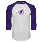White/Purple Raglan Baseball T Shirt-Crest Design
