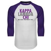 White/Purple Raglan Baseball T Shirt-Stacked Kappa Lambda Chi