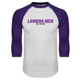 White/Purple Raglan Baseball T Shirt-Lambda Men