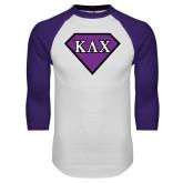 White/Purple Raglan Baseball T Shirt-Greek Diamond