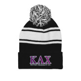 Black/White Two Tone Knit Pom Beanie w/Cuff-Primary Mark