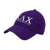 Purple Twill Unstructured Low Profile Hat-Greek Letters