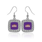 Crystal Studded Square Pendant Silver Dangle Earrings-Prairie Fire Logo