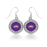 Crystal Studded Round Pendant Silver Dangle Earrings-Prairie Fire Logo