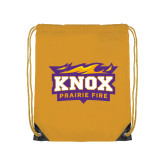 Nylon Gold Drawstring Backpack-Prairie Fire Logo