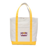 Contender White/Gold Canvas Tote-Prairie Fire Logo