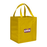 Non Woven Gold Grocery Tote-Prairie Fire Logo