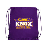 Nylon Purple Drawstring Backpack-Prairie Fire Logo
