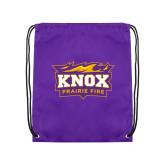 Purple Drawstring Backpack-Prairie Fire Logo