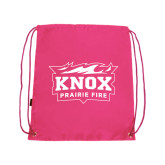 Nylon Pink Drawstring Backpack-Prairie Fire Logo