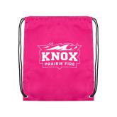 Pink Drawstring Backpack-Prairie Fire Logo
