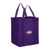 Non Woven Purple Grocery Tote-Prairie Fire Logo
