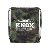 Nylon Camo Drawstring Backpack-Prairie Fire Logo