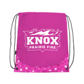 Nylon Pink Bubble Patterned Drawstring Backpack-Prairie Fire Logo