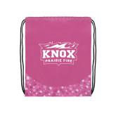 Nylon Pink Bubble Patterned Drawstring Backpack-Prairie Fire Logo