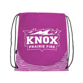 Nylon Zebra Pink/White Patterned Drawstring Backpack-Prairie Fire Logo