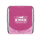 Nylon Zebra Pink/White Patterned Drawstring Backpack-Prairie Fire Logo