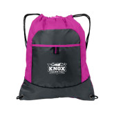 Nylon Pink Raspberry/Deep Smoke Pocket Drawstring Backpack-Prairie Fire Logo