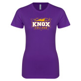 Next Level Ladies SoftStyle Junior Fitted Purple Tee-Knox College Logo