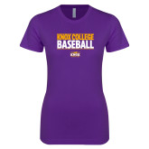 Next Level Ladies SoftStyle Junior Fitted Purple Tee-Knox College Baseball Stacked