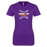 Next Level Ladies SoftStyle Junior Fitted Purple Tee-Prairie Fire Baseball w/Seams