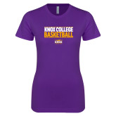 Next Level Ladies SoftStyle Junior Fitted Purple Tee-Knox College Basketball Stacked