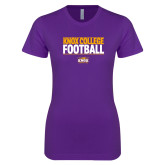 Next Level Ladies SoftStyle Junior Fitted Purple Tee-Knox College Football Stacked