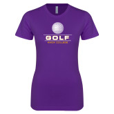 Next Level Ladies SoftStyle Junior Fitted Purple Tee-Knox College Golf Stacked w/Ball