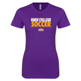 Next Level Ladies SoftStyle Junior Fitted Purple Tee-Knox College Soccer Stacked