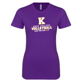 Next Level Ladies SoftStyle Junior Fitted Purple Tee-Knox College Volleyball Can You Dig It