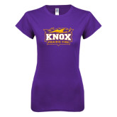 Next Level Ladies Softstyle Junior Fitted Purple Tee-Prairie Fire Logo