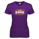 Ladies Purple T Shirt-Prairie Fire Logo