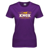 Ladies Purple T Shirt-Knox College Logo