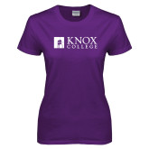 Ladies Purple T Shirt-Institutional Logo