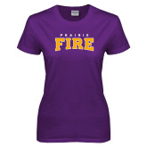 Ladies Purple T Shirt-Prairie Fire