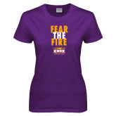 Ladies Purple T Shirt-Fear The Fire