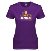 Ladies Purple T Shirt-Knox Mascot Logo