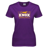 Ladies Purple T Shirt-Basketball