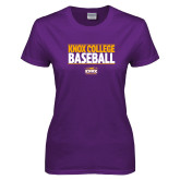 Ladies Purple T Shirt-Knox College Baseball Stacked